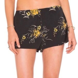 NEW Band of Gypsies black, gold yellow floral satin stretch shorts NWT size XS
